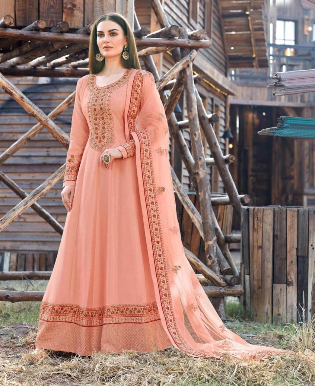 Embroidered Silk Abaya Style Salwar in Peach
