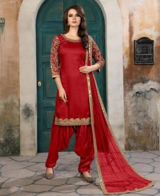 Embroidered Art Silk Red Patiyala Salwar