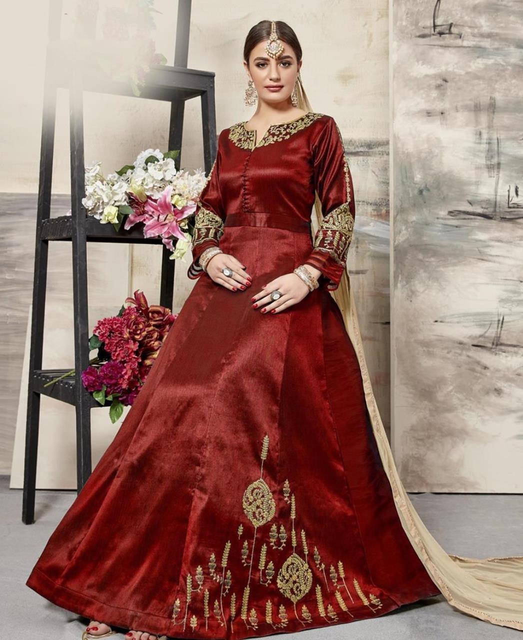 Embroidered Silk Maroon Abaya Style Salwar