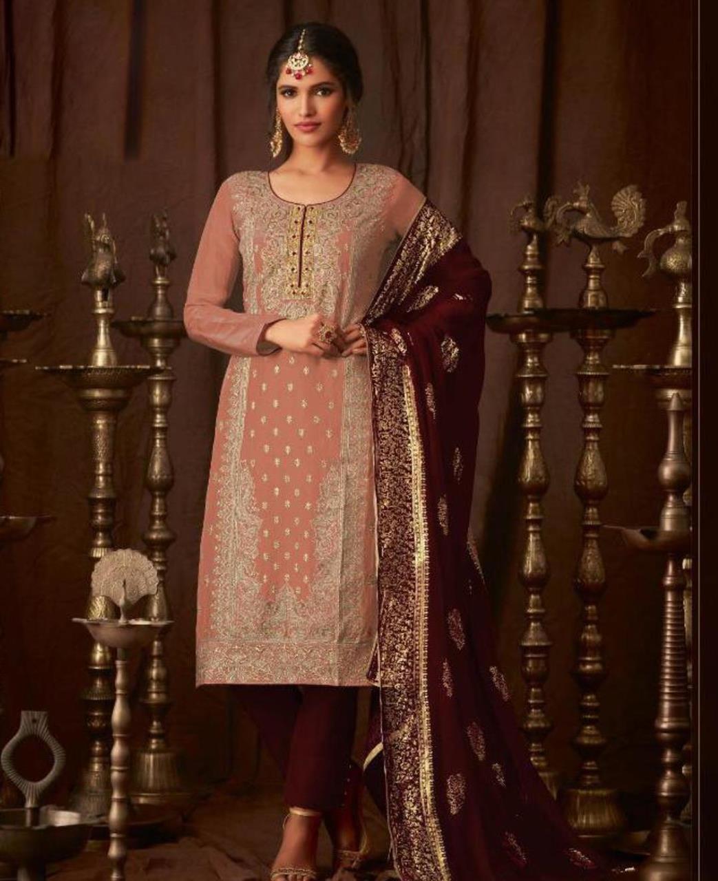 Georgette Straight cut Salwar Kameez in Light Orange  ,  Maroon