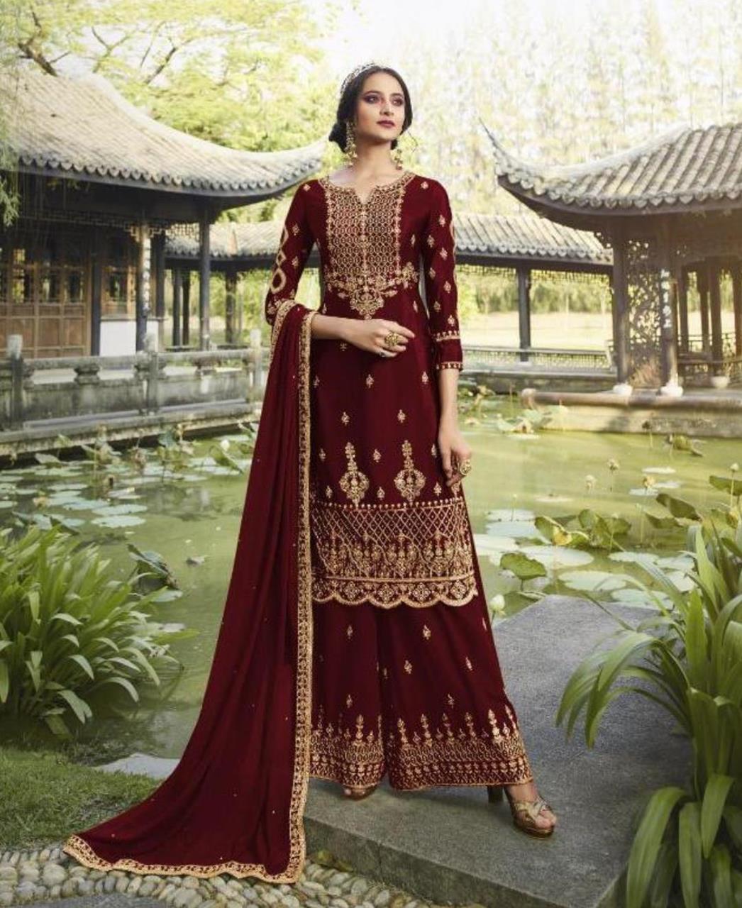 HandWorked Georgette Straight cut Salwar Kameez in Dark Red
