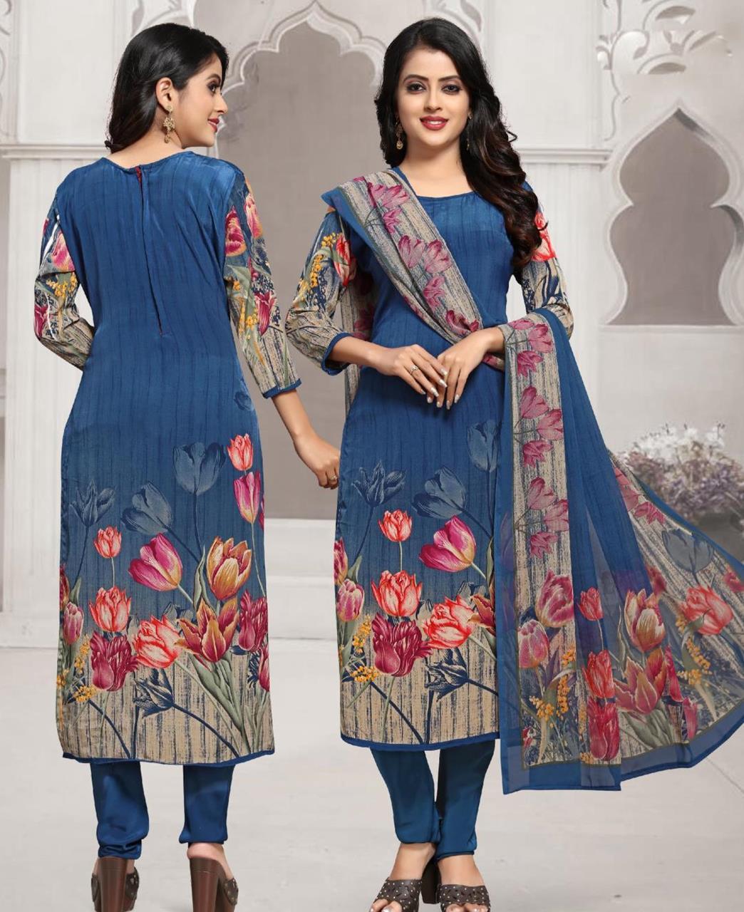 Floral Print Crepe Blue Straight Cut Salwar