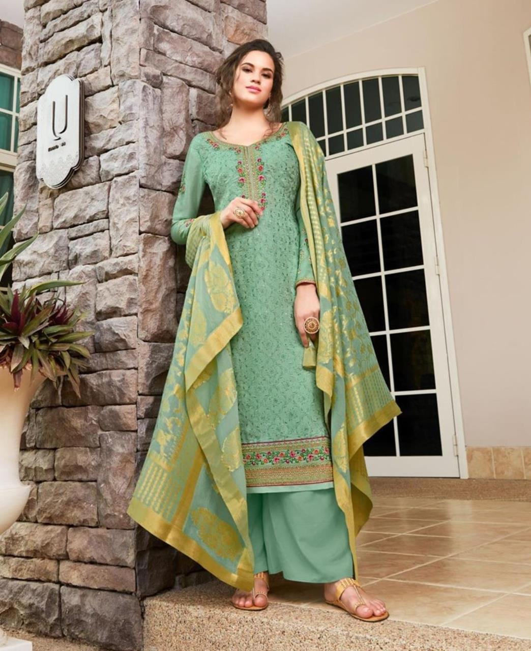 Resham Silk Straight cut Salwar Kameez in Sea Green