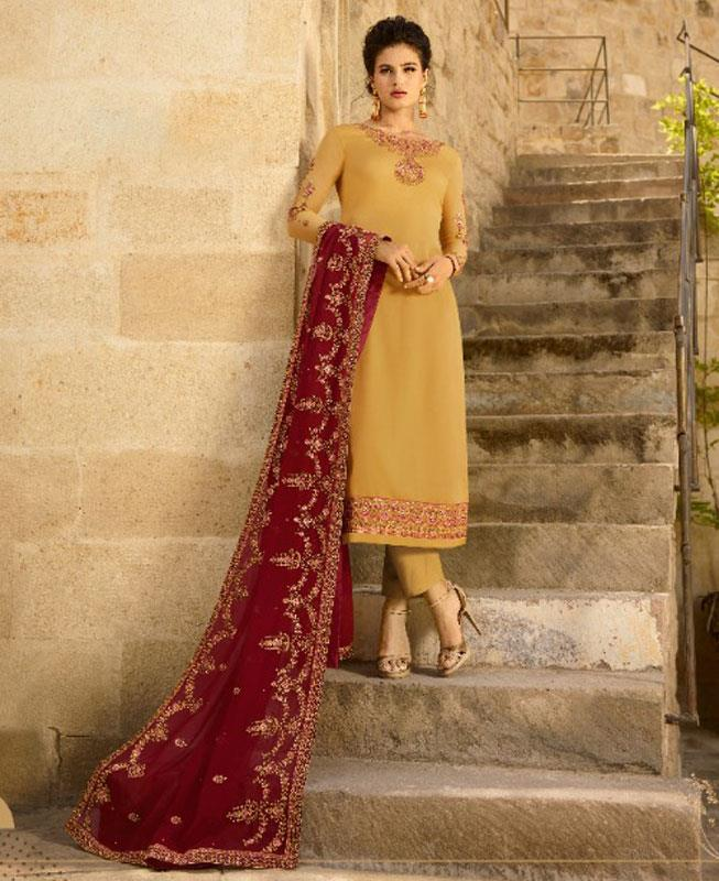 Embroidered Georgette Yellow Straight Cut Salwar
