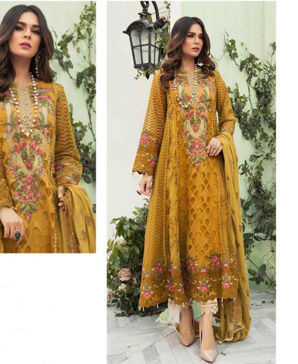 Embroidered Georgette Straight cut Salwar Kameez in Musterd
