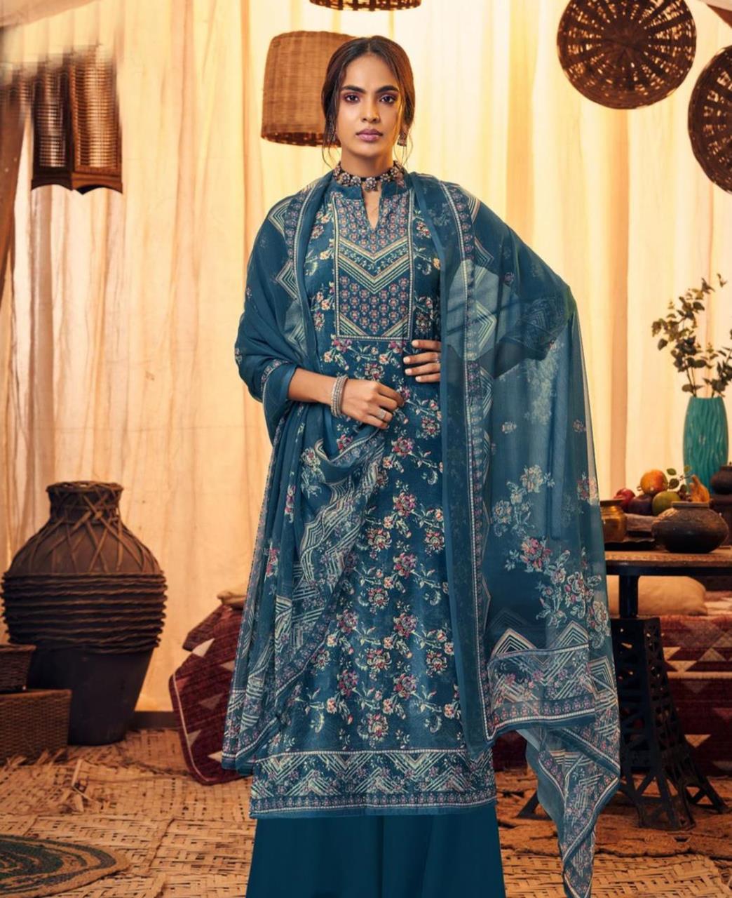 Printed Velvet Straight cut Salwar Kameez in Teal Blue
