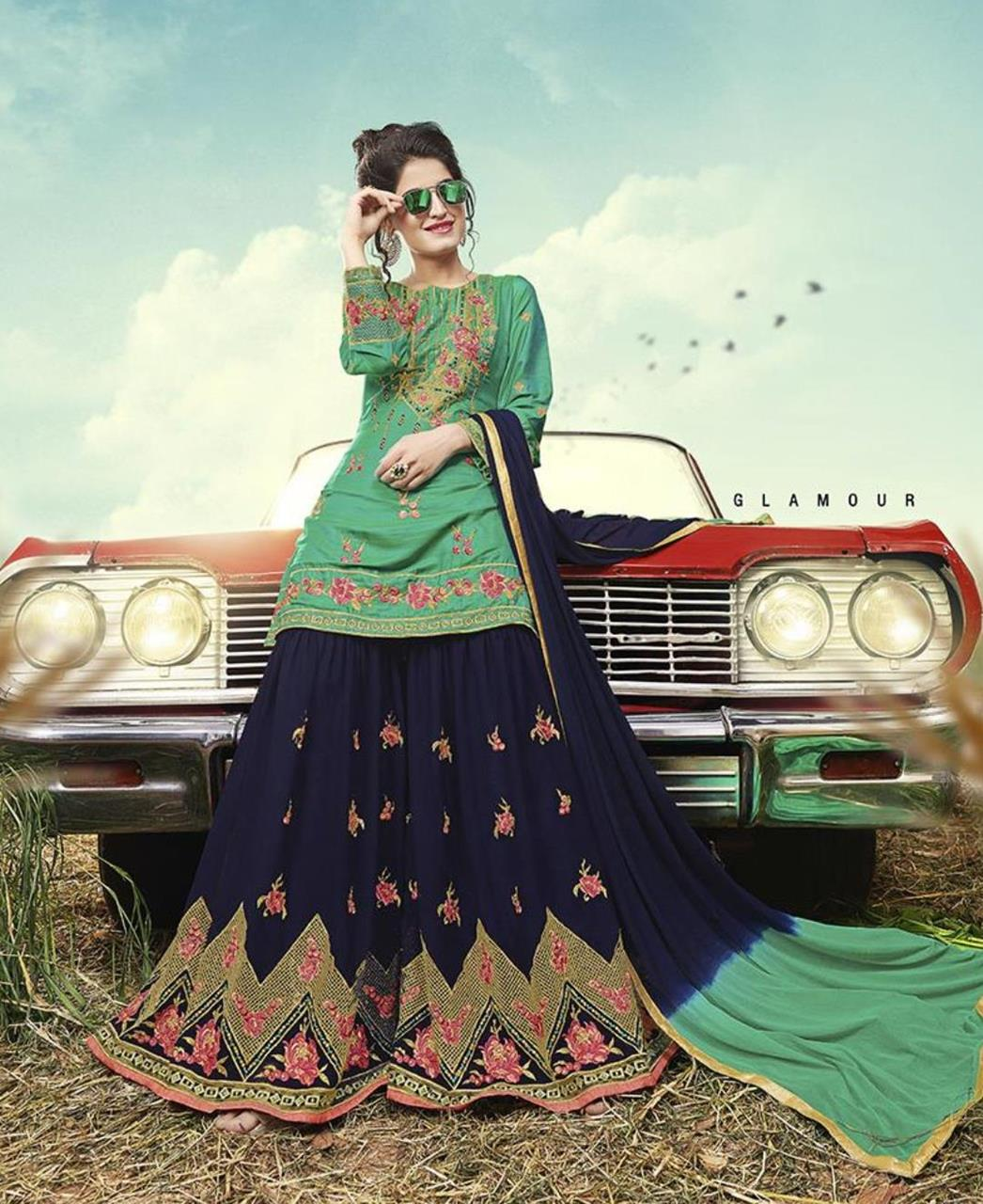 Embroidered Satin Green Palazzo Suit Salwar