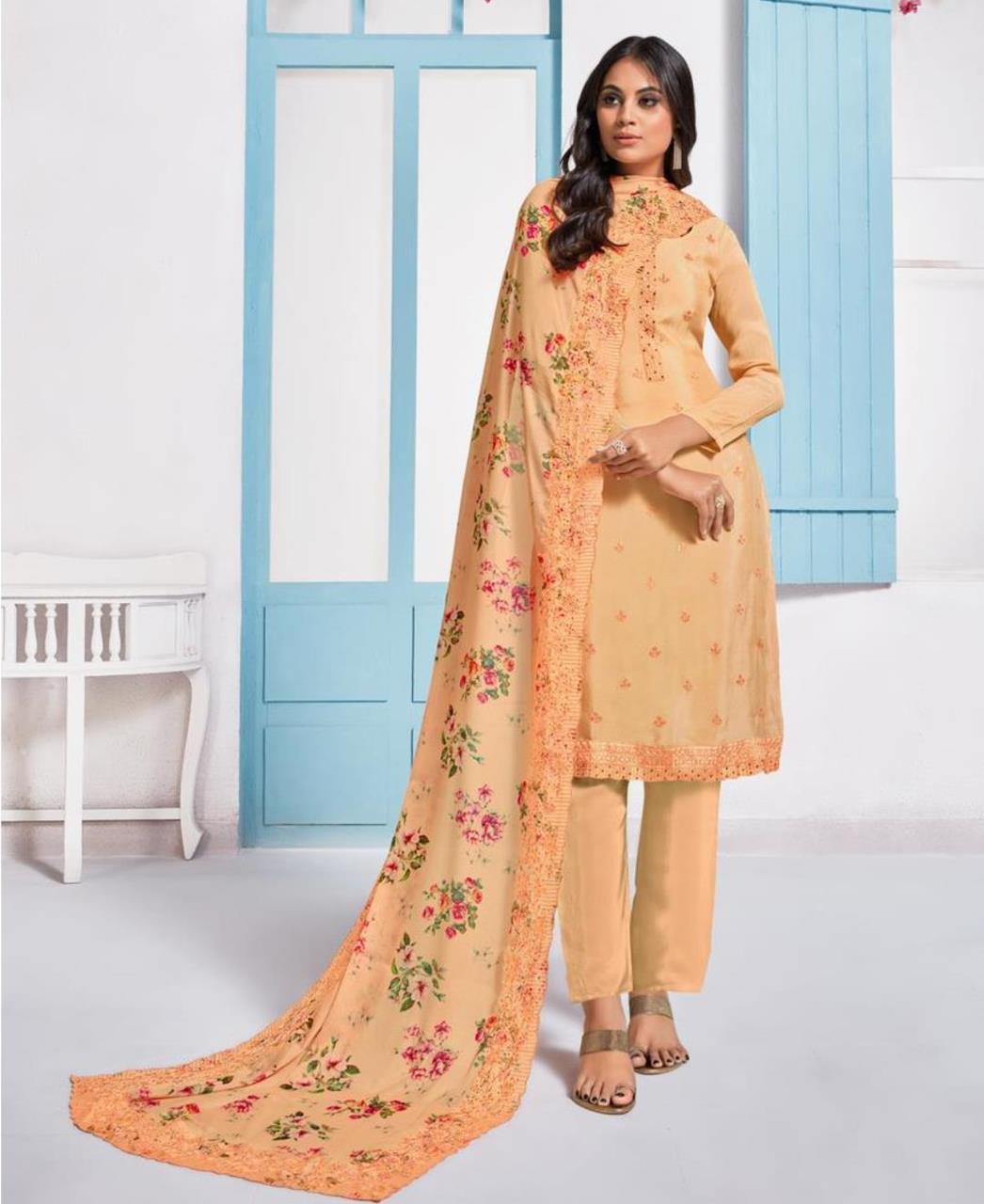 Printed Crepe Straight cut Salwar Kameez in Orange