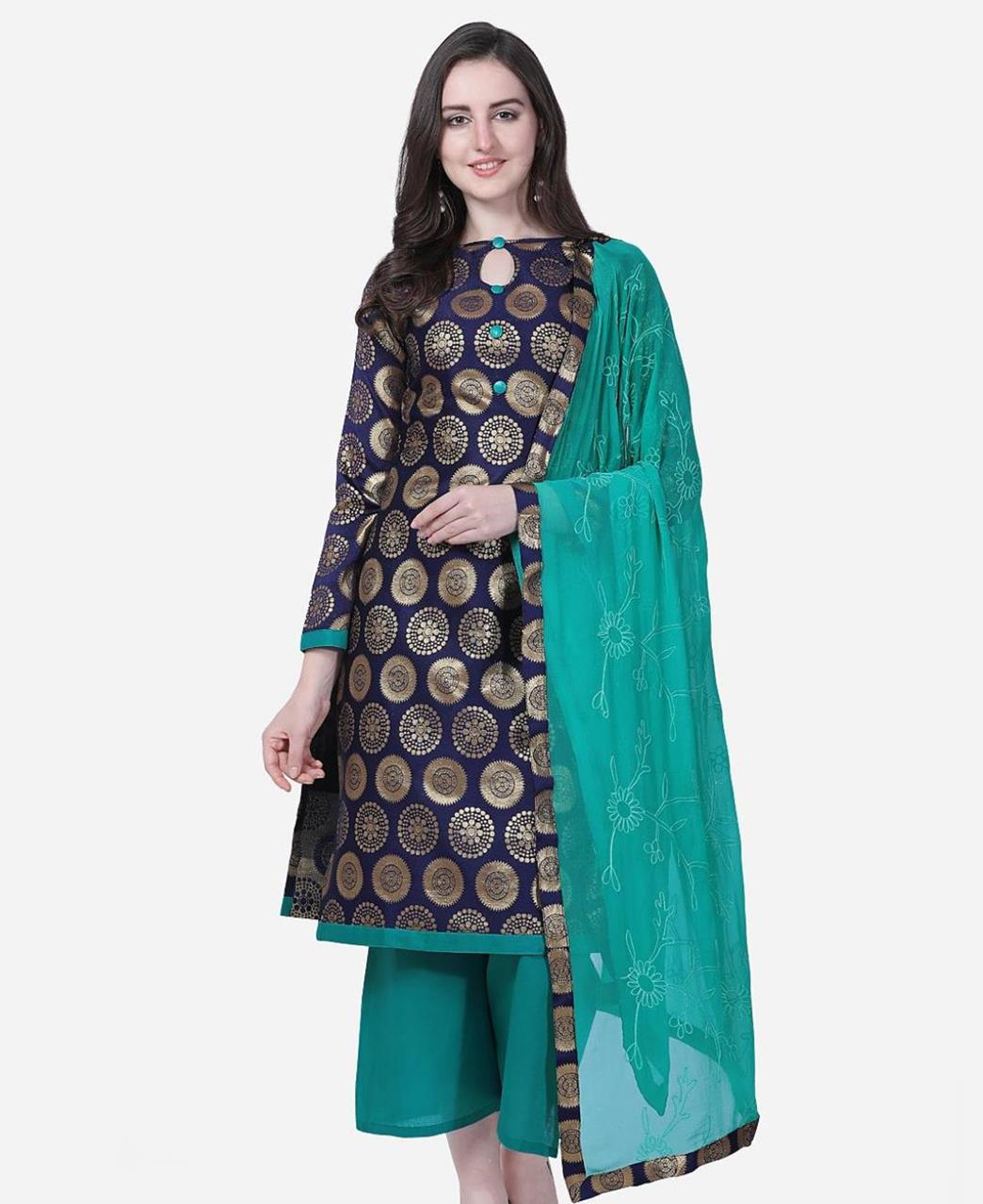 Embroidered Cotton Straight cut Salwar Kameez in Navy Blue