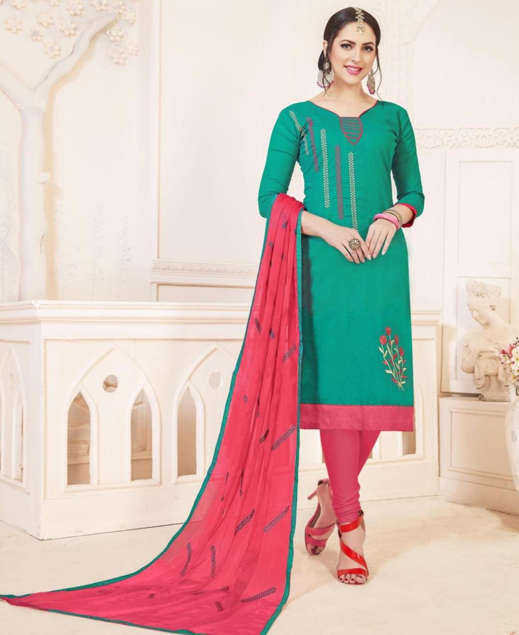 Embroidered Cotton Turquoise Straight Cut Salwar