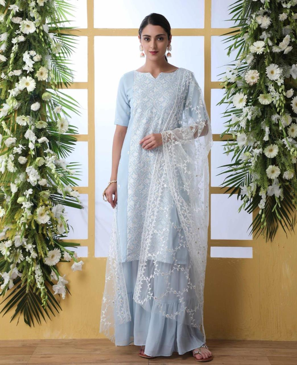 Embroidered Georgette SKYBLUE Palazzo Suit Salwar