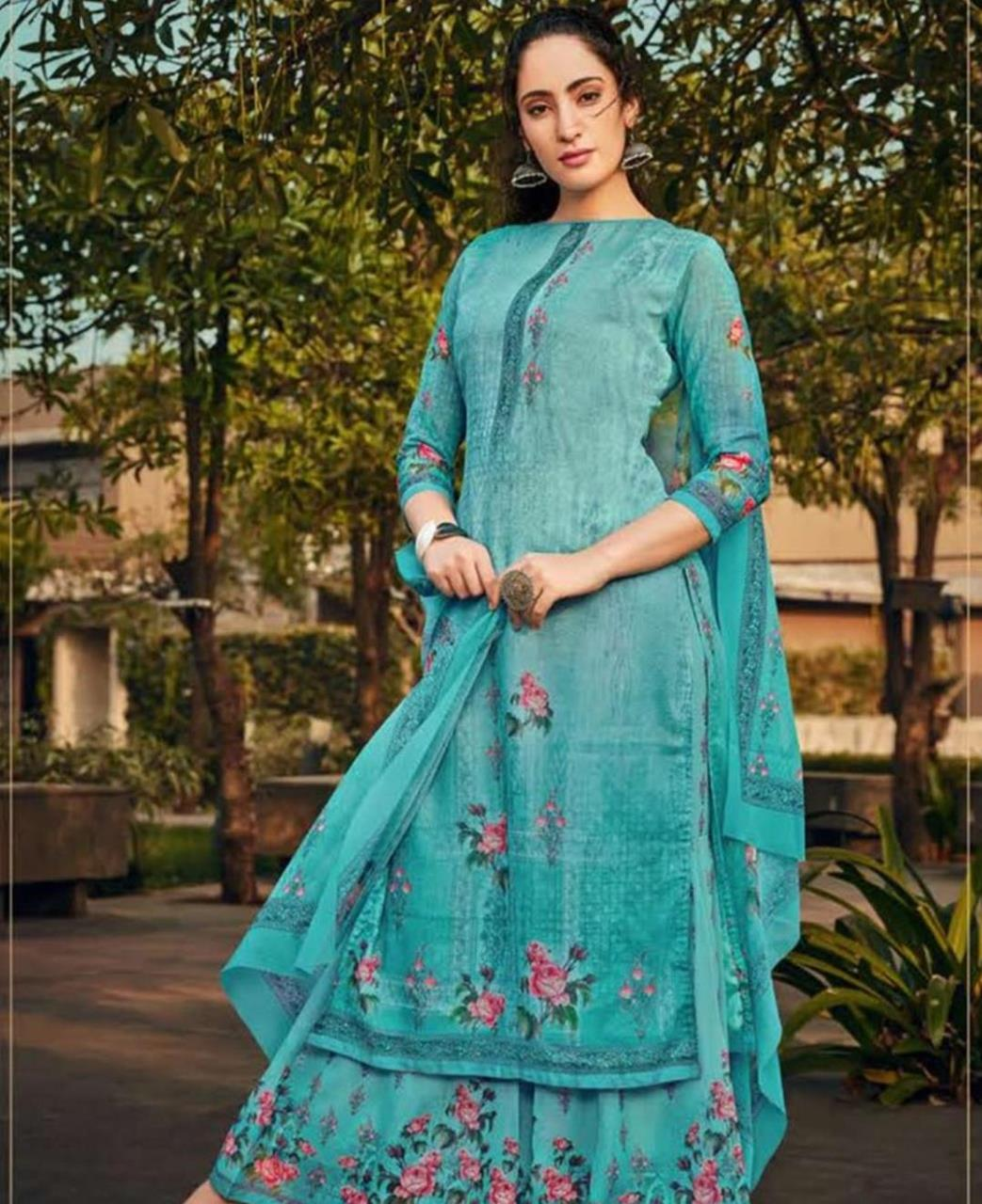 Stone Work Georgette Straight cut Salwar Kameez in Sky Blue