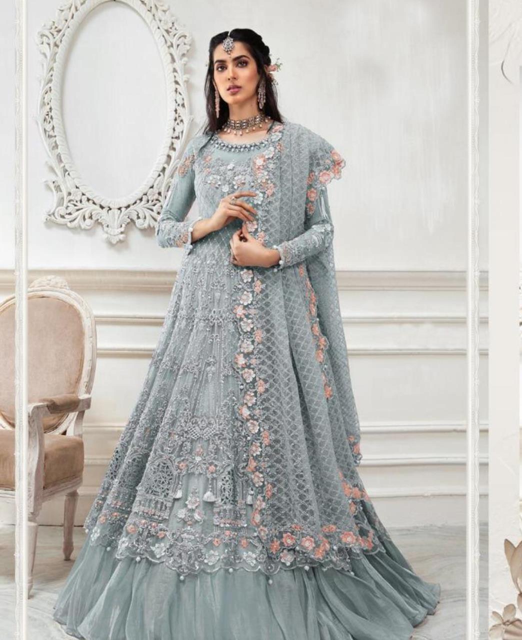 HandWorked Net Abaya Style Salwar in Grey