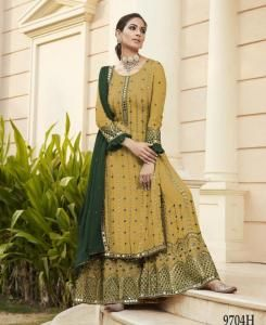 Embroidered Georgette Straight cut Salwar Kameez in Yellow