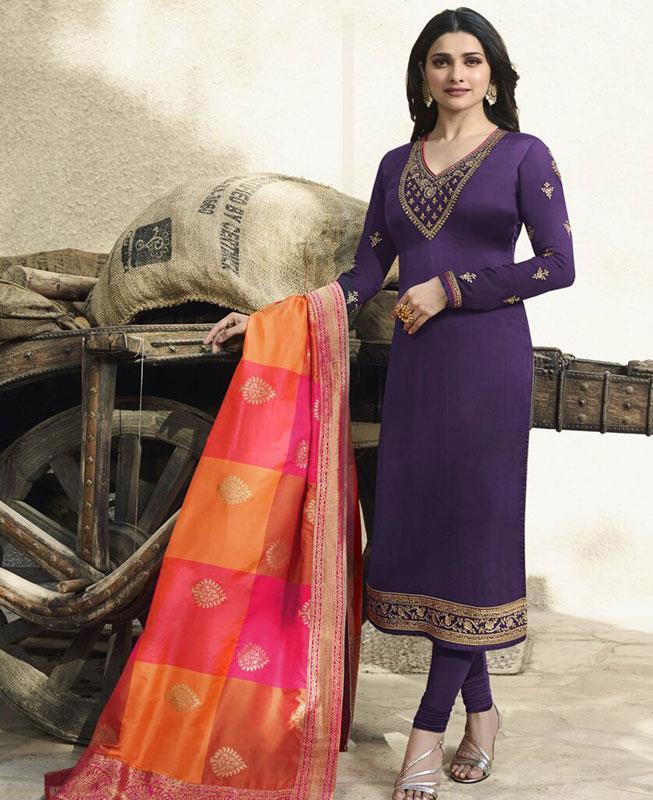 Embroidered Georgette Violet Straight cut Salwar
