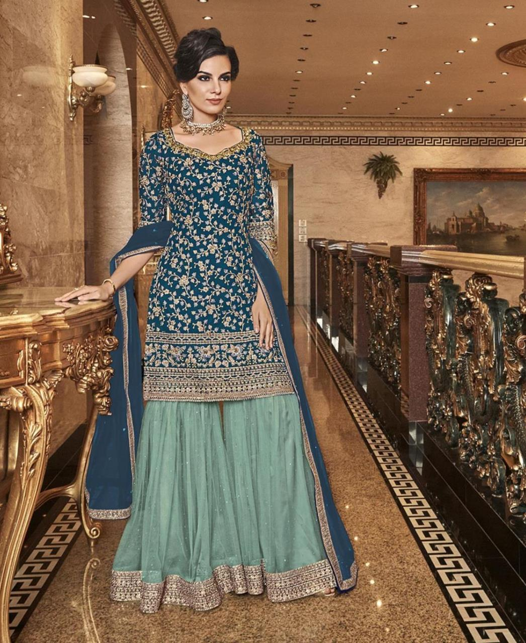 Stone Work Silk Abaya Style Salwar in Blue