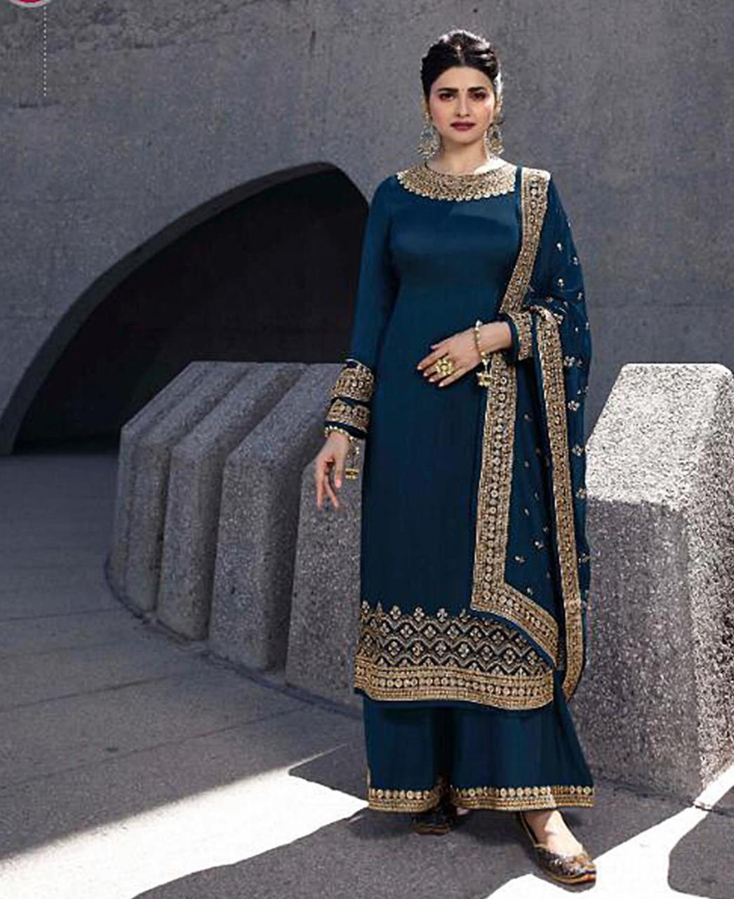 Georgette Straight cut Salwar Kameez in Royal Blue
