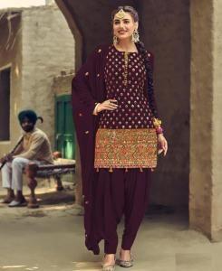 Stone Work Georgette Patiyala Suit Salwar in Purple