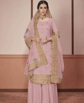 Embroidered Silk Lavender Palazzo Suit Salwar