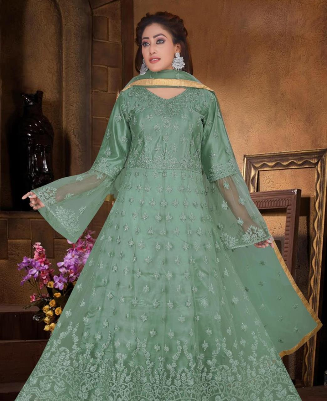 Net Straight cut Salwar Kameez in Green
