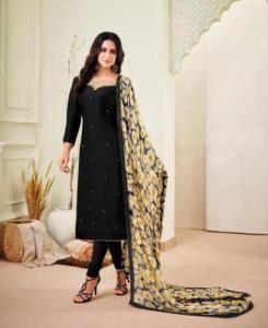 HandWorked Cotton Straight cut Salwar Kameez in Black
