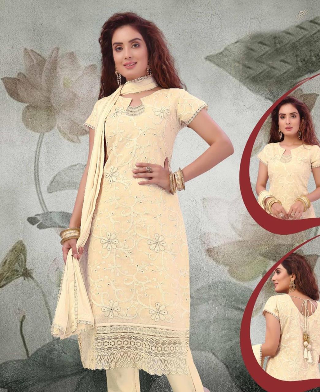 Embroidered Chanderi Silk Cream Straight Cut Salwar