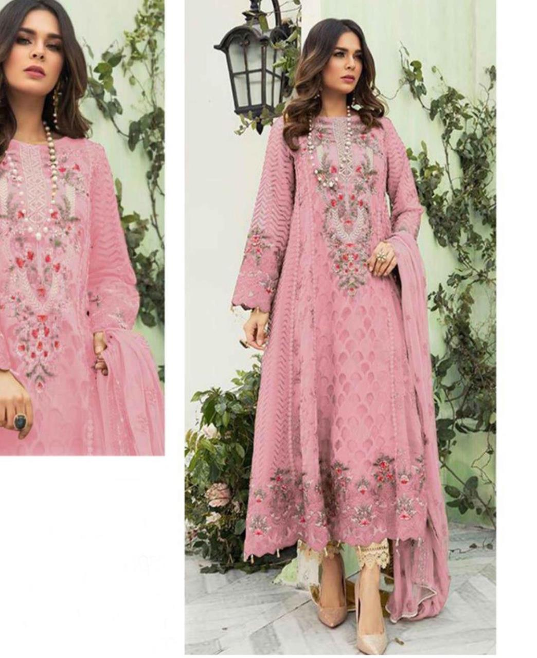 Embroidered Georgette Straight cut Salwar Kameez in Light Pink