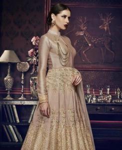 HandWorked Silk Abaya Style Salwar in Light Onian