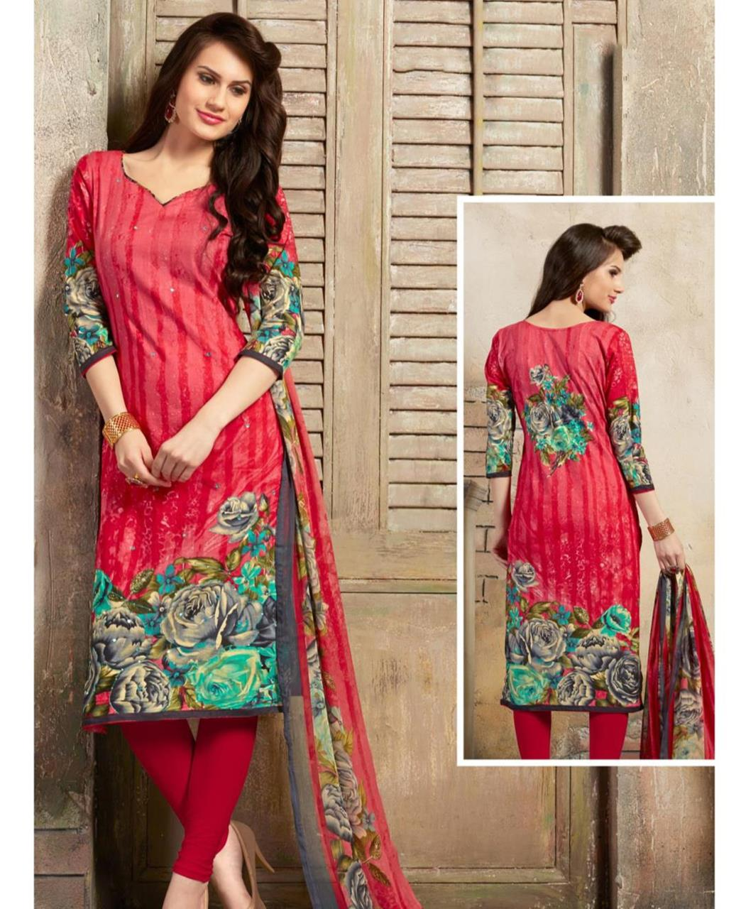 Printed Cotton Pink Straight Cut Salwar