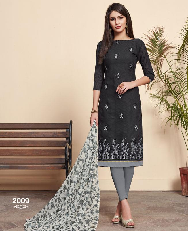 Embroidered Cotton Straight cut Salwar Kameez in Black