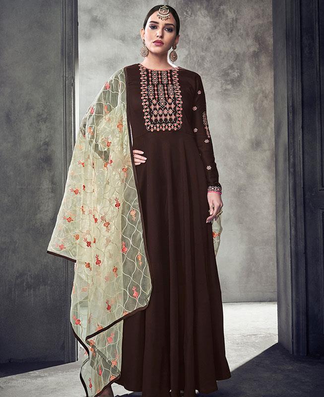 Embroidered Georgette Brown Abaya Style Salwar