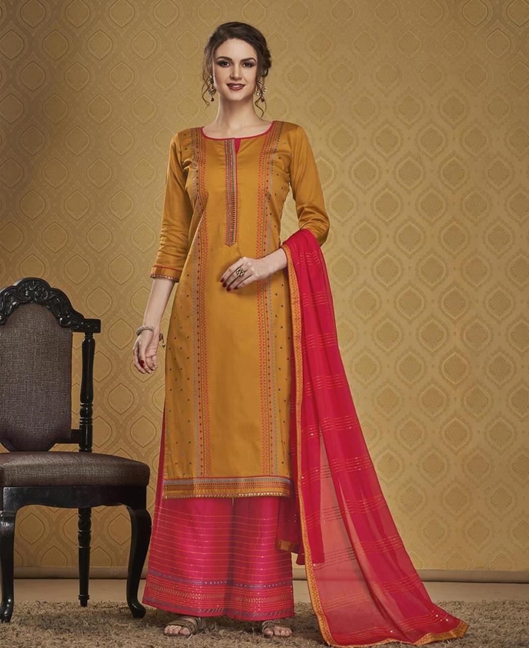 HandWorked Silk Straight cut Salwar Kameez in Musterd