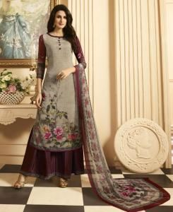 Printed Crepe Gray Palazzo Suit Salwar Kameez