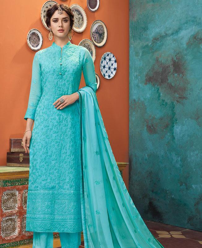 Thread Georgette Straight cut Salwar Kameez in Sky Blue