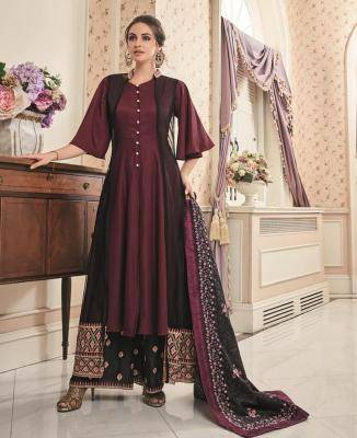 Embroidered Net Maroon Palazzo Suit Salwar