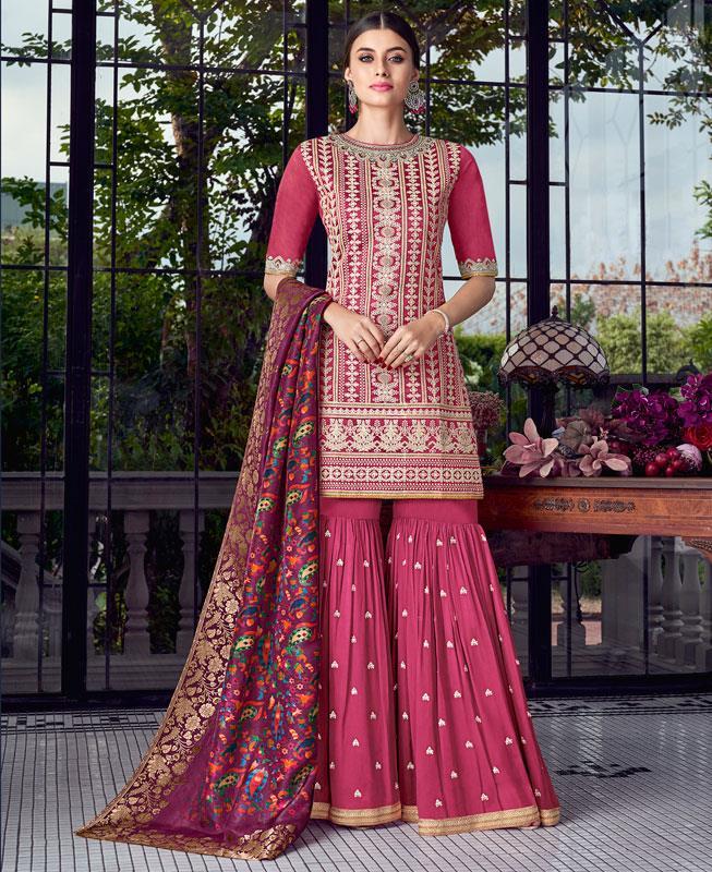 Embroidered Silk Pink Palazzo Suit Salwar Kameez