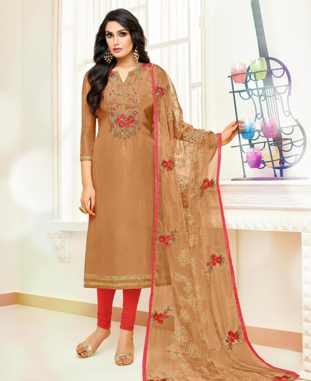 Embroidered Silk Beige Straight Cut Salwar