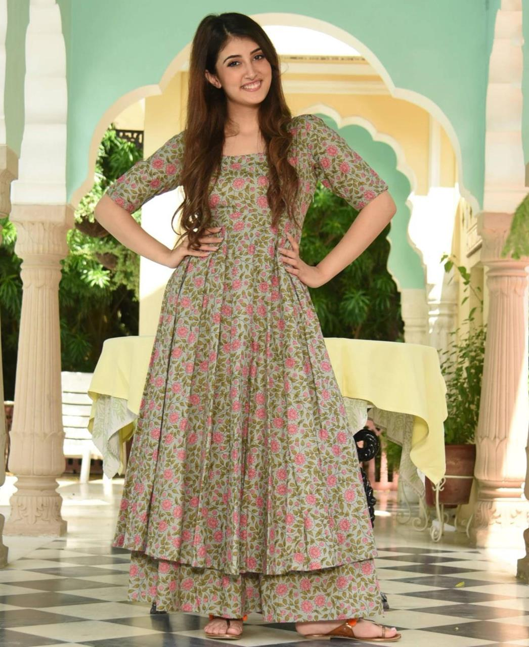 Printed Silk Gray Palazzo Suit Salwar