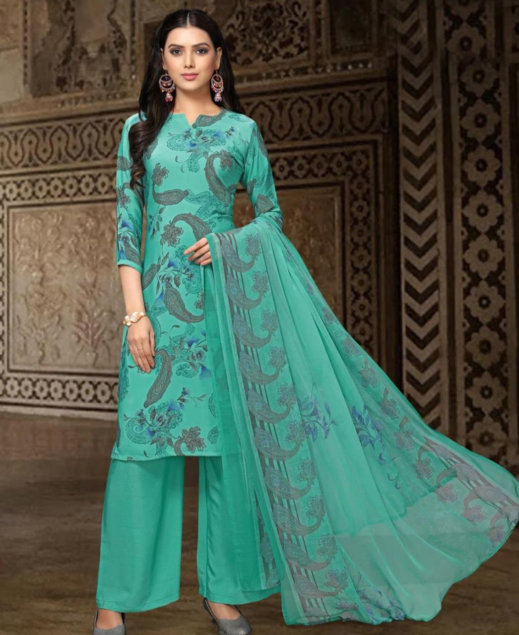 Printed Georgette Straight cut Salwar Kameez in Green
