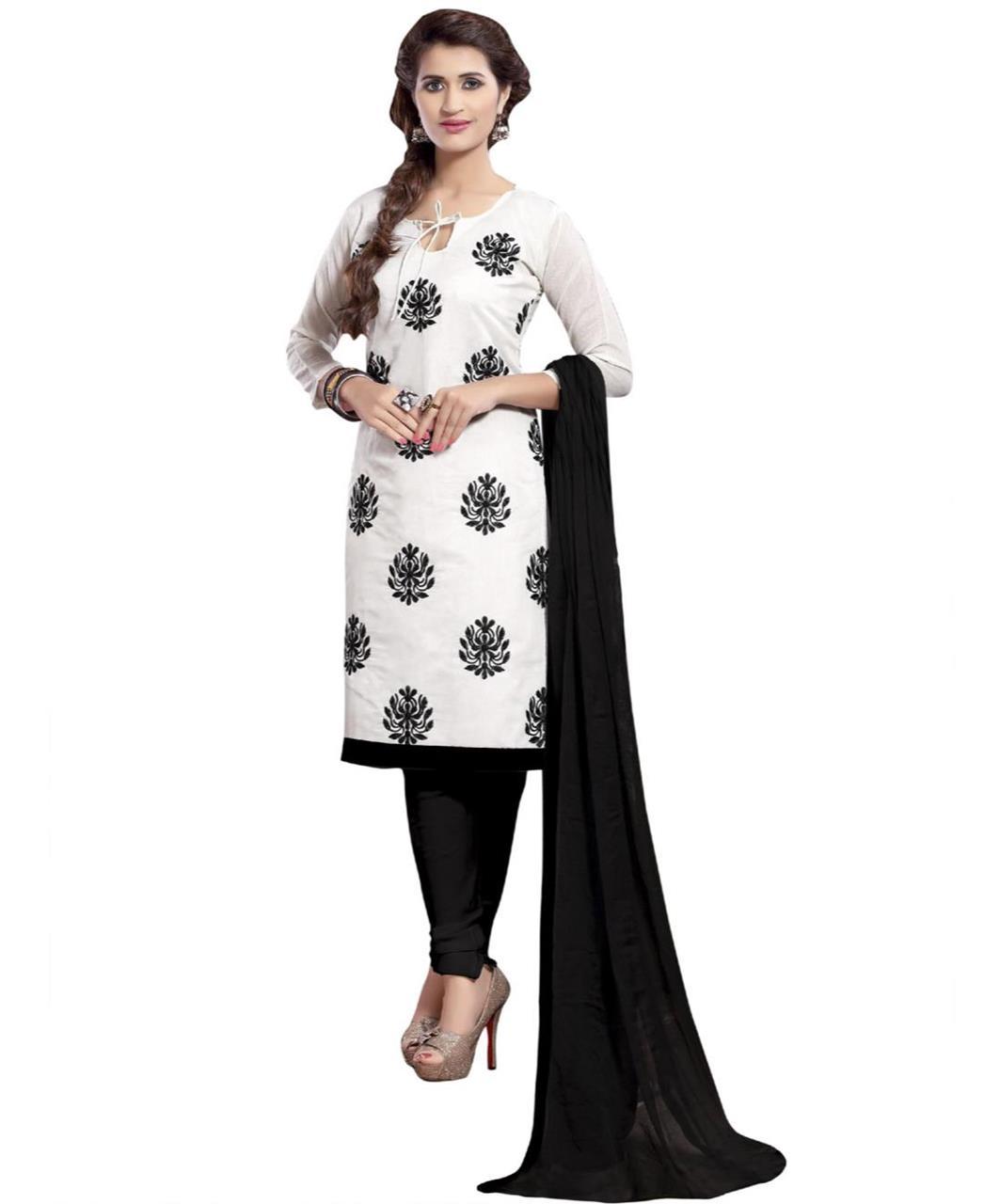 Cotton Straight cut Salwar Kameez in White