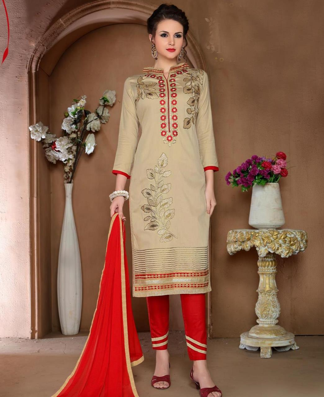 Embroidered Cotton Beige Straight Cut Salwar Kameez