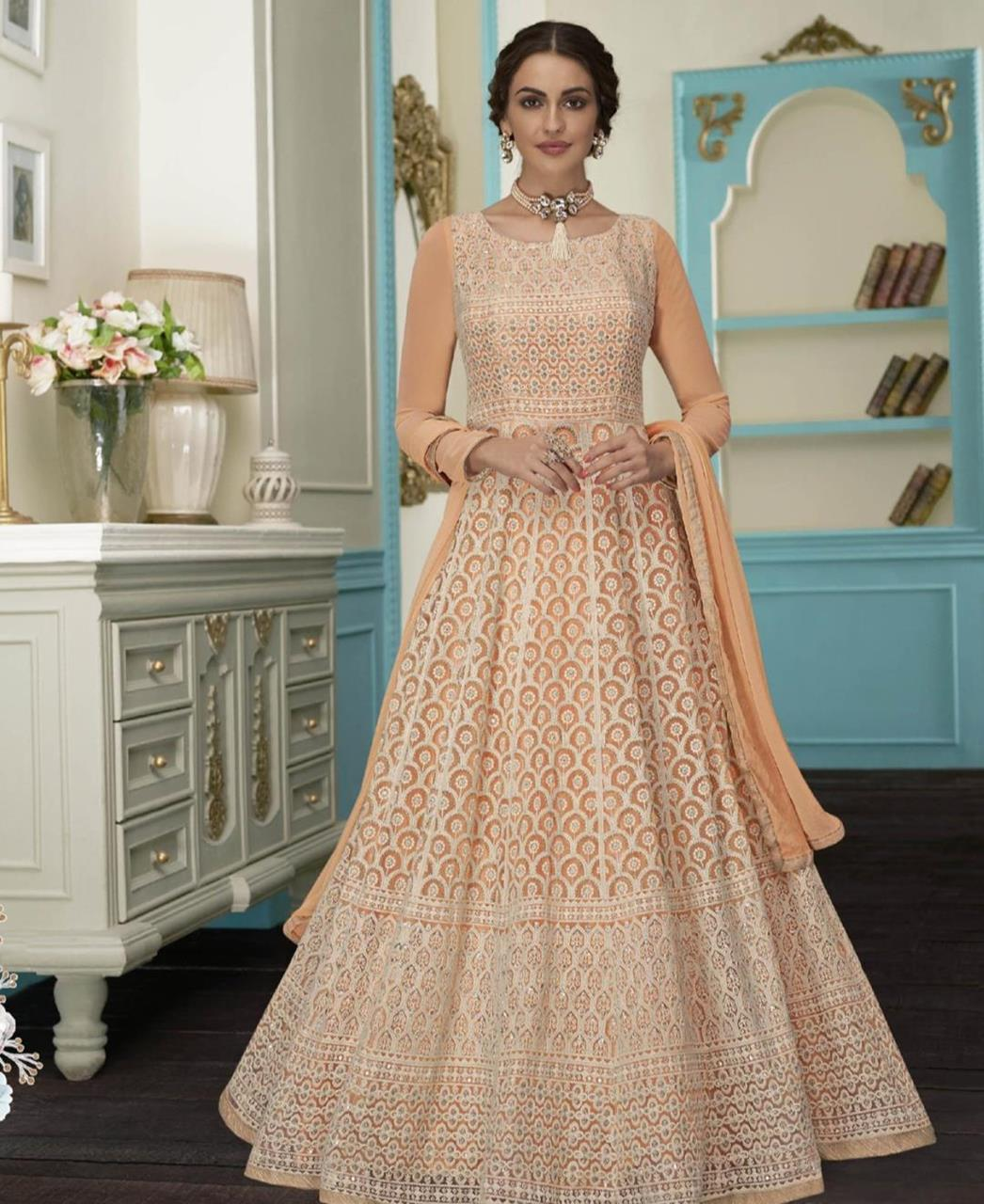 Embroidered Faux Georgette Orange Abaya Salwar