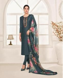 HandWorked Cotton Straight cut Salwar Kameez in Grey