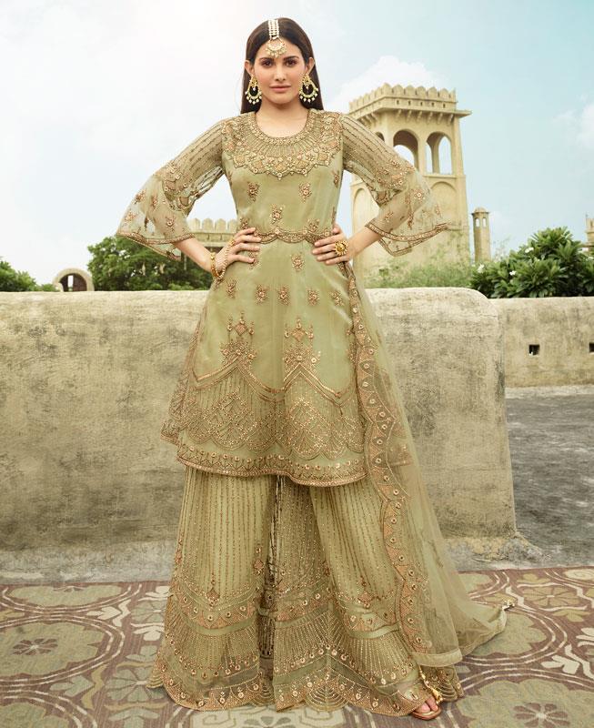 Thread Net Abaya Style Salwar in Pista