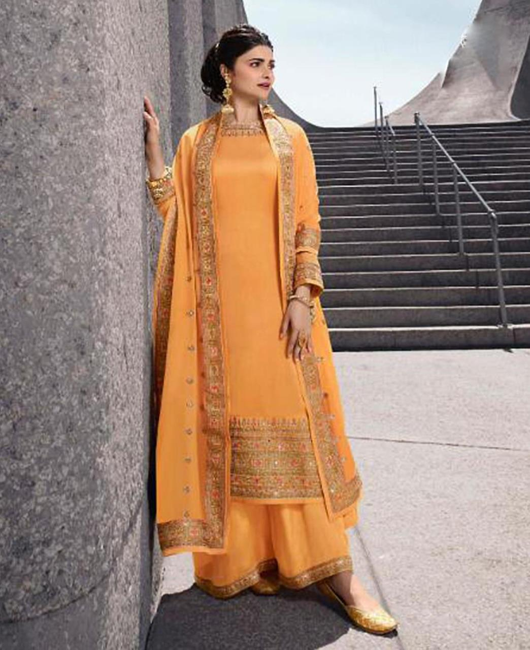 Georgette Straight cut Salwar Kameez in Yellow