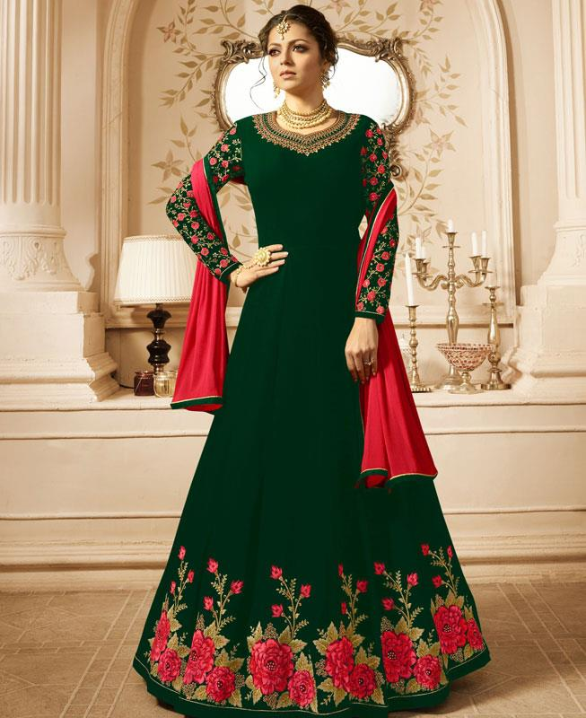 Embroidered Georgette Green Abaya Salwar