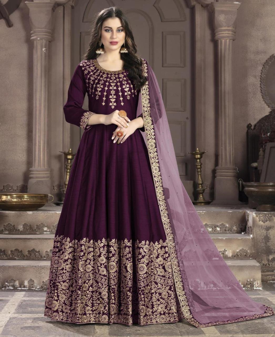 Embroidered Silk Purple Anarkali Salwar