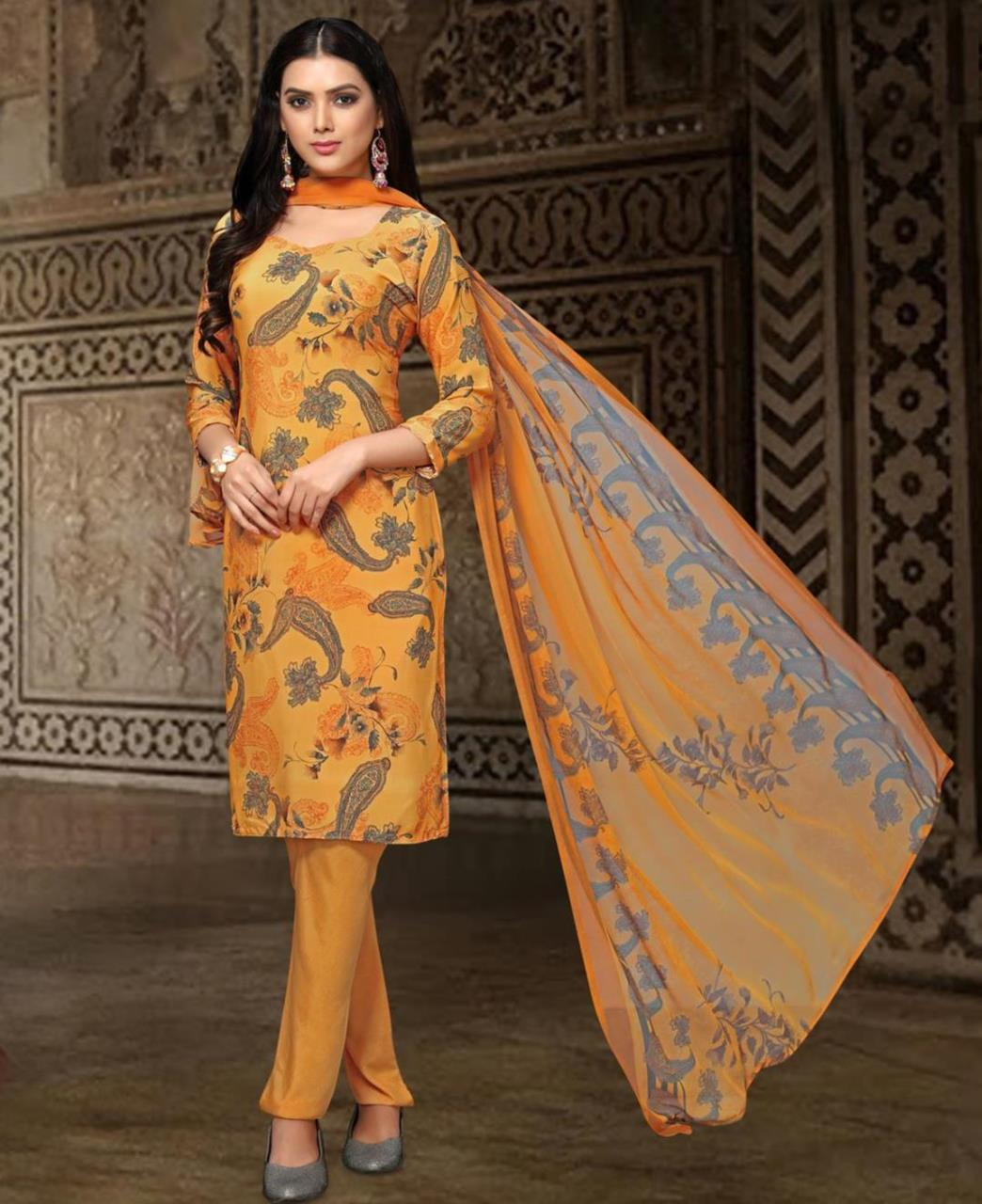 Printed Georgette Straight cut Salwar Kameez in Yellow