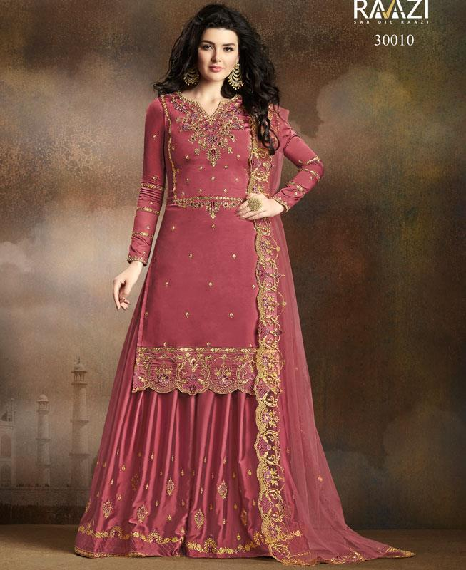 Embroidered Georgette Pink Palazzo Suit Salwar Kameez