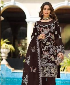 Embroidered Georgette Straight cut Salwar Kameez in Brown